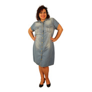 Vestido Chamise Manga Curta Jeans Host Plus Size Do 46 Ao 60
