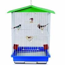 Gaiola P/ Aves Com Teto Plástico Desmontável Com Acessórios