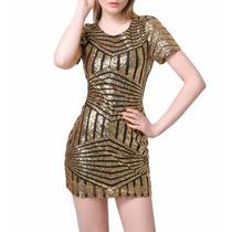 Vestido De Festa Verão Praia Balada Curto Dourado Super Sexy