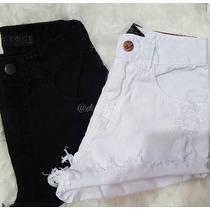 Shorts Jeans Coloridos Cintura Alta Hot Pants Lady Rock