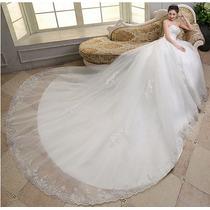 Vestido De Noiva Calda Longa Rodado Princesa Tulê Renda Luxo