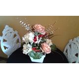 Arranjo D Rosas E Vaso Em Mdf! Flores Permanentes!! Seda!!