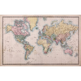 Mapa Mundi Aspecto Antiguo 150x95 Cm Muestras Gratis