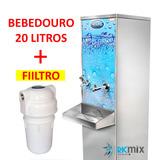 Bebedouro Industrial Inox 20 Litros C/ Filtro Carvão Ativado