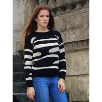 Sweater / Pullover Tejido Animal Print Cebra Talles M, L, Xl