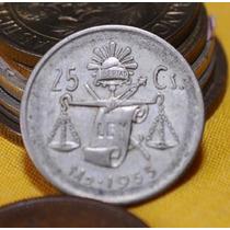 Moneda De 25 Centavos Año 1953 Y 1950 Plata Ley