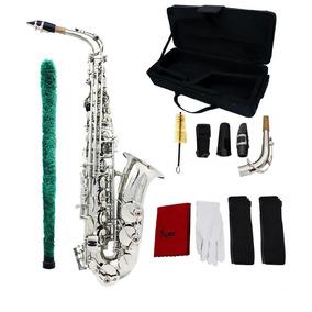 Saxofon Alto Marca Lade Plateado Con Estuche Y Accesorios