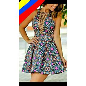 e17a62241 Vestidos Cortos Juveniles A La Moda Unicolor Y Estampados