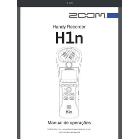 Manual Em Português Do Gravador Digital Zoom H1 N , H1n