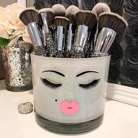 Porta Pincéis De Maquiagem Em Vidro Penteadeira