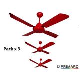 Pack X 3 Ventilador De Techo 4 Palas Metal Color Rojo