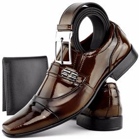Sapato Masculino Social Envernizado Brilhoso Kit Cinto Dhl
