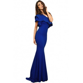 Vestido Fiesta Largo Azul Rey Corte Sirena Elegante Sexy