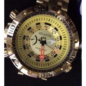 Relógio Atlantis Sports J3400 Grande Dourado Analogico