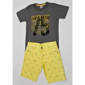 Conjuntos Infantis Menino Camiseta Cinza Bermuda Amarela a7f5a8875ee29