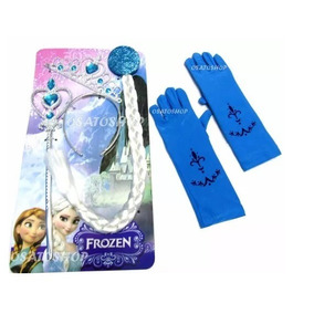 Kit Frozen, Personagen Elsa Com Coroa, Trança,varinha E Luva