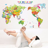 Adesivo Parede Criança Bebe Infantil Mapa Mundi Bandeiras