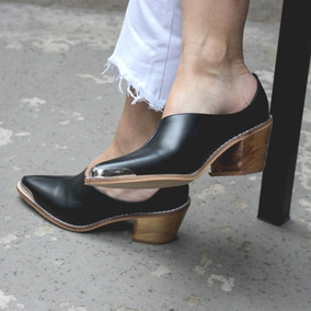 Zuecos Texanas Zapatos Mod.chavo De Cuero Vacuno