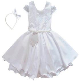 Vestido Infantil Branco Batizado Daminha Com Tiara Promoção