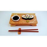 Sushi Set Modelo Fusión Metal En Madera De Lenga
