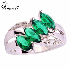 Anel Unissex De Prata Com Pedras Verdes Esmeralda
