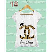 Camiseta Blusa Feminina Coco Chanel Coroa Marca Oncinha