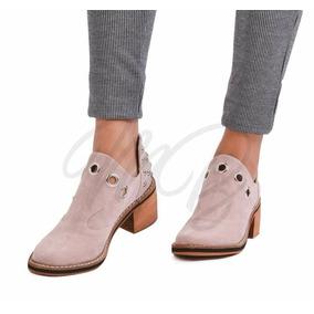 Zapatos Mujer Texana Baja Tachas Ojales Taco Folia Marbella