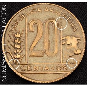 Moneda Argentina 20 Centavos 1950 - Torito - Falla De Cuño