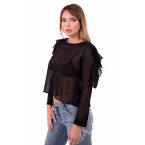Camisa Gasa Con Lunares S/ Hombros Con Volado Mujer Kandil