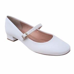 Sapato Branco Boneca Enfermagem Noiva Batizado Salto Baixo