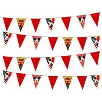 Tira De Banderines Mickey Mouse Para Fiesta Infanti ¡oferta!