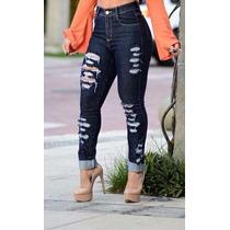 Calça Jeans Feminina Cintura Alta Rasgada