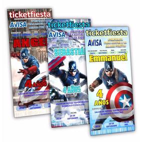 Invitaciones Diseño Imprimible Capitan America