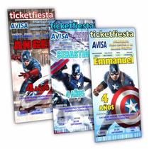 50 Invitaciones Capitan America Urgentes Envio Gratis!