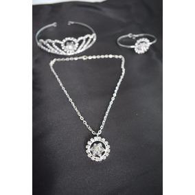 Tiara Niña Collar Y Pulcera Cristal Y Metal Plata Comunion