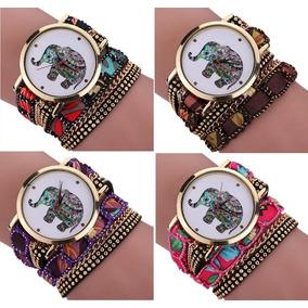 Kit 10un Relógio Feminino Bracelete Elefante Hindu
