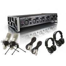 Tascam Us-4x4tp Pack Completo Estudio Interface Microfonos