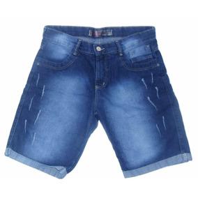 Bermuda Jeans Masculino Com Poído