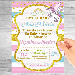 Invitación Digital Baby Shower Unicornio