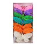 Caja De 12 Mariposas Decorativas