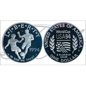 Dólar De Plata Usa Proof 1994 Mundial Futbol Estuche Lujo