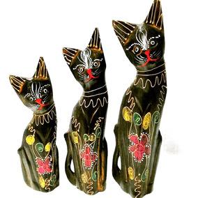 Set De Gatos Hindues Madera **deco-ofertas**