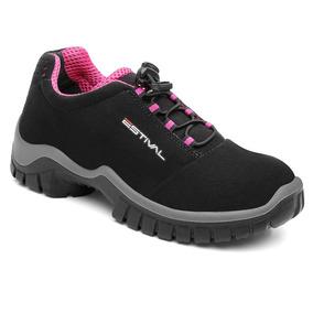Sapato De Segurança Microfibra Estival Energy Preto E Pink