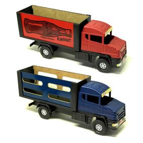 Caminhão Madeira Carreta Furgão Brinquedo Infantil - 2 Unid