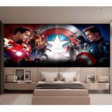 Papel De Parede Heróis Vingadores Capitão América M² Nhma05