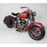 Moto Chopper Decorativa Miniatura Roja - Chapa Escala