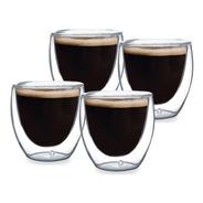 Xícara De Café 4 Copos Parede Dupla Vidro 90ml Café Chá Bar