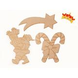 Figuras Navideñas En Fibrofacil Pack Por 3 Unidades