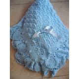 Pañoleta - Mantita- De Lana Color Celeste Tejida Al Crochet