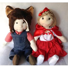 Bonecos De Pano,modelados Chapeuzinho Vermelho E Lobo Mau